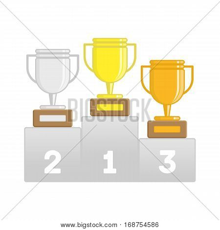 Winners podium with gold, silver and bronze cups. Victory Podium with first, second and third place. Business or sporting achievements, the championship winner. Victory concept. Vector EPS 10.