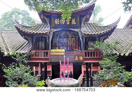 Mont Qingcheng, Sichuan, China - JUN. 21, 2012: Shangqinggong Temple on top of Mount Qingcheng (Qing Cheng Shan) in the city of Dujiangyan, Sichuan Province, China. Mount Qingcheng is UNESCO World Heritage Site since 2000.