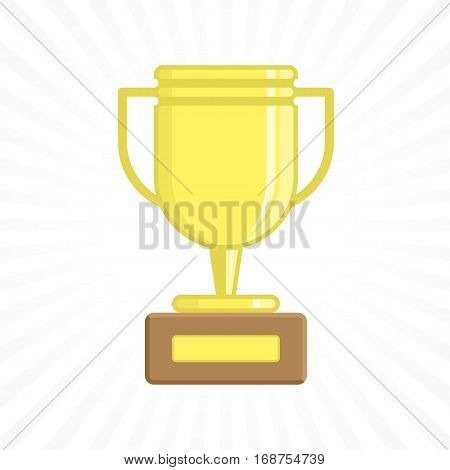 Gold cup trophy. Award symbol. Golden metallic goblet for first place winner vector illustration. 1st place pedestal, shiny yellow Cup flat cartoon design. EPS 10.