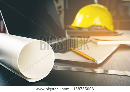 Engineer construction working desk equipment computer office