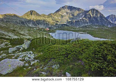 Amazing panorama of Tevno Lake and Yalovarnika peak from Valyavishki chukar, Pirin mountain, Bulgaria