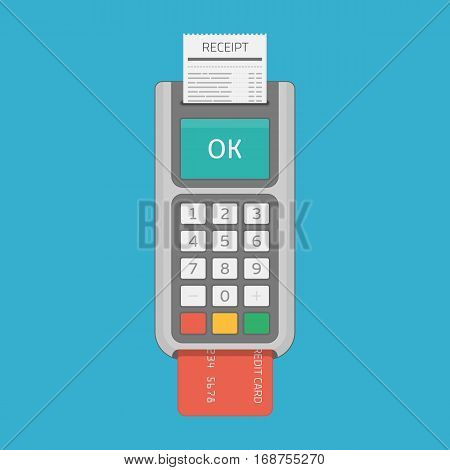 POS terminal vector illustration in flat style. Payment machine with credit card and receipt. Point of sale, cashless payment and Credit Cards payments concept. EPS 10.