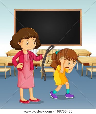 Girl being punished by teacher in classroom illustration
