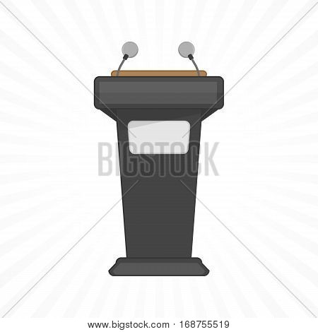 Rostrum, podium, tribune with microphones isolated in light background. Vector concept public speaking and business conference. EPS 10.