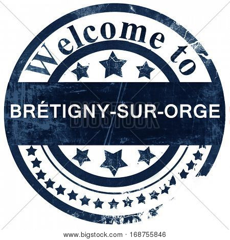 bretigny-sur-orge stamp on white background