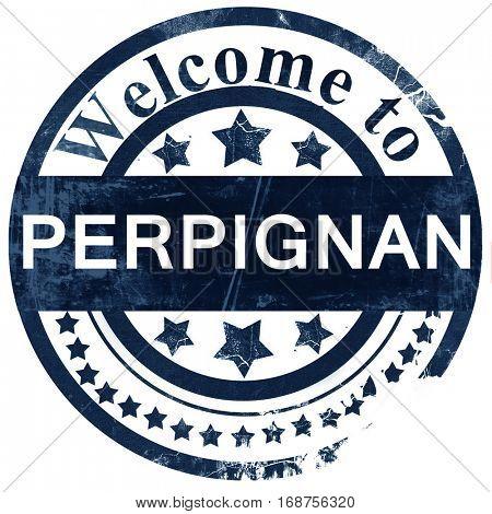 perpignan stamp on white background