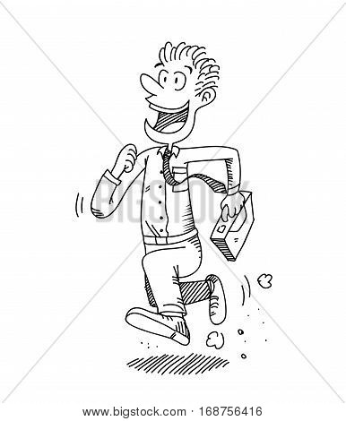 Happy Salaryman Going to Work, A hand drawn vector cartoon illustration of a white collar worker going to work with happy expressions
