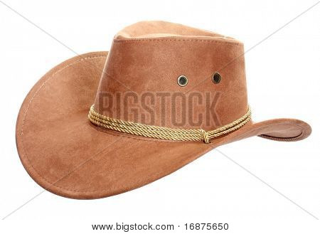 Brown leather hat isolated on white. Traditional hat for all american cowboys.