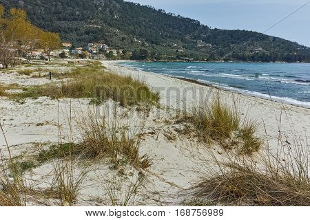 Panorama of Golden beach, Thassos island, East Macedonia and Thrace, Greece