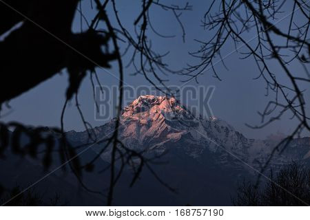 Gorgeous Shot Of Icy Craggy Peak Of In The Annapurna Conservation Area Taken From Valley. Beautiful