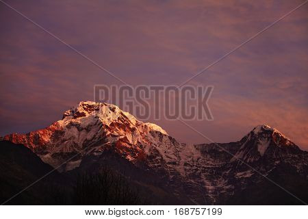 Amazing Breathtaking View Of Sunset Over Craggy Summits Of The Himalayan Mountain Range. Scenery Of