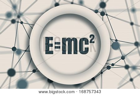 Physical formula of mass and energy equivalence in circle on connected by dots lines backdrop. Molecule And Communication Background. Brochure or report design template