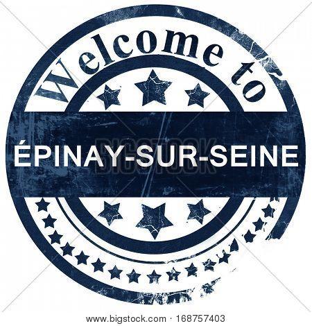 Epinay-sur-seine stamp on white background