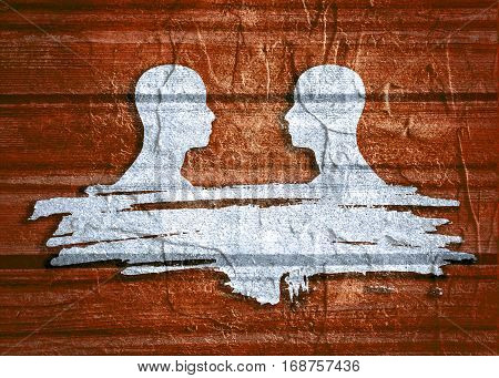 Two man silhouettes looking at each other. Grunge brush stroke. Abstract business meeting. Concrete texture. Side view.