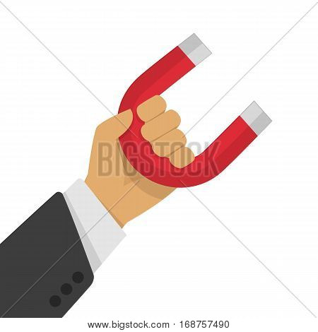 Businessman holding magnet. Concept of attraction. Vector illustration in flat style isolate on white background.