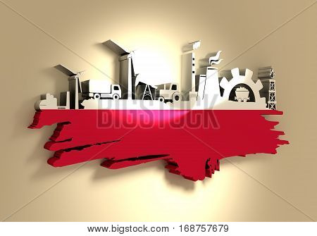 Energy and Power icons set and grunge brush stroke. Energy generation and heavy industry relative image. Agriculture and transportation. Flag of the Poland. 3D rendering