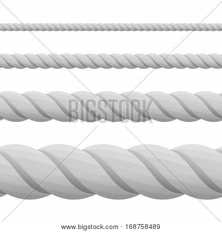 Set of ropes, isolated on white background. Different twine gray thickness rope. Vector illustration of twisted thick knot lines. Rope seamless pattern. Top view.