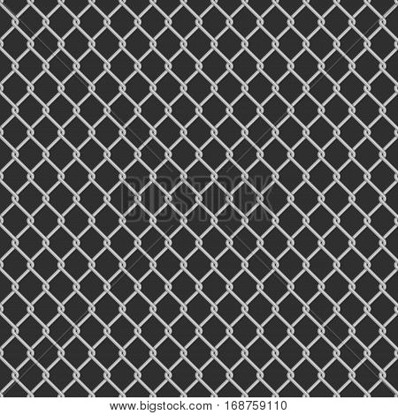 Seamless metal chain link fence on black background. Wired Fence pattern in shades of grey. Stylish repeating texture. Mesh-netting.