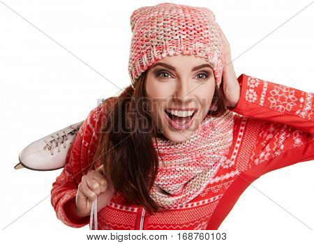 Pretty woman ice skating winter sport activity in white cap smiling facial close-up isolated on a white background
