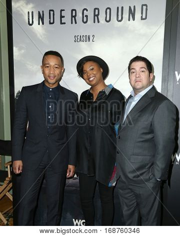 LOS ANGELES - DEC 13:  John Legend, Misha Green, Joe Pokaski at the WGN America's
