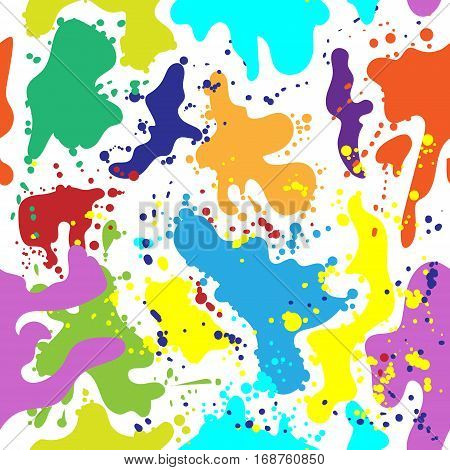 Multi colored blots seamless background for holi festival. Illustration in vector format
