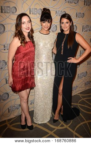 LOS ANGELES - JAN 8:  Zoe Lister-Jones, Hannah Simone, Angelique Cabral at the HBO Golden Globes After-Party at Circa 55 at Beverly Hilton Hotel on January 8, 2017 in Beverly Hills, CA