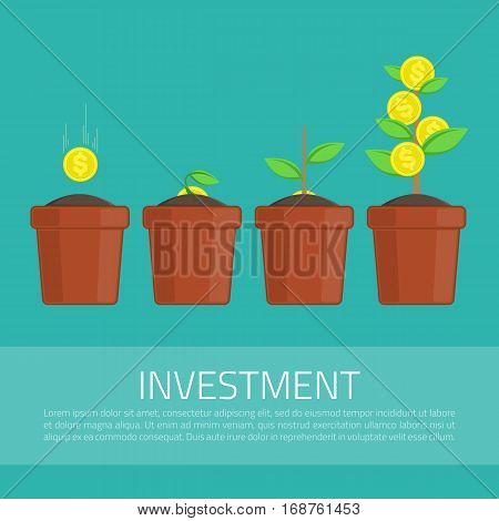 Money tree, financial growth concept. Four steps. Business, investment infographic template. Progress of money dollar rising from one dollar coin to money tree. Vector illustration, modern flat style.