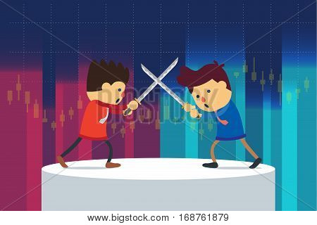Businessman fighting on stage with blade which have a stock chart background.