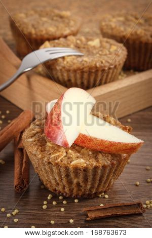 Fresh Muffins With Millet Groats, Cinnamon And Apple Baked With Wholemeal Flour, Delicious Healthy D