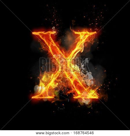 Fire letter X of burning flame. Flaming burn font or bonfire alphabet text with sizzling smoke and fiery or blazing shining heat effect. Incandescent hot red fire glow on black background.