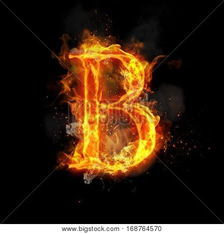 Fire letter B of burning flame. Flaming burn font or bonfire alphabet text with sizzling smoke and fiery or blazing shining heat effect. Incandescent hot red fire glow on black background.