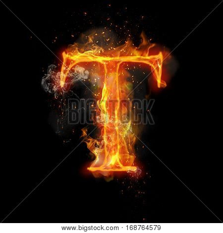Fire letter T of burning flame. Flaming burn font or bonfire alphabet text with sizzling smoke and fiery or blazing shining heat effect. Incandescent hot red fire glow on black background. poster