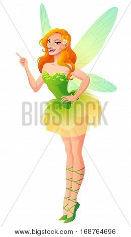 Beautiful floral fairy in green dress with dragonfly wings standing with finger pointing up. Cartoon pinup style vector illustration isolated on white background.