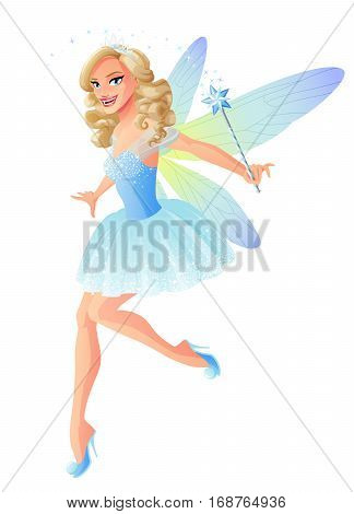 Beautiful flying fairy in blue outfit with dragonfly wings and magic wand. Cartoon style vector illustration isolated on white background.