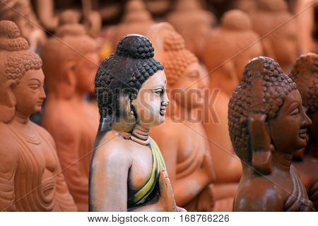 Hand crafted clay buddha idols