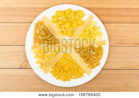 Plate Is Divided Into Sectors With Different Pasta On Table