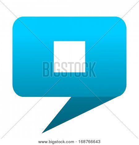 stop blue bubble icon
