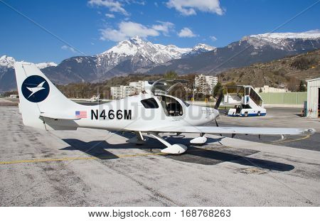 SION, SWITZERLAND - March 30: Columbia-400 preparing for departure on March 30, 2012 in Sion, Switzerland. Sion is one of the airports serving business and sport personal aircrafts.