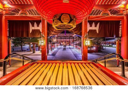 TOKYO, JAPAN - JANUARY 11, 2017: Historic Sensoji Temple in the Asakusa district of Tokyo. The temple's origins date back to 628.
