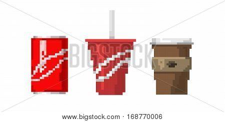 Pixel art fast drink cups vector illustration. Morning mug cappuccino symbol design. Graphic menu retro shop sign caffeine espresso. Takeaway beverage.