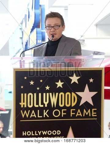 LOS ANGELES - JAN 11:  Jeremy Renner at the Amy Adams Star Ceremony at Hollywood Walk of Fame on January 11, 2017 in Los Angeles, CA