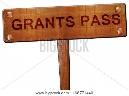 grants pass road sign, 3D rendering