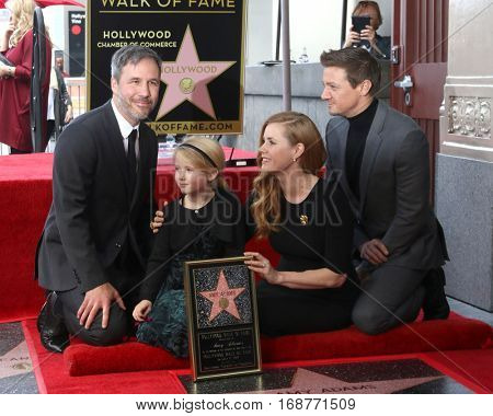 LOS ANGELES - JAN 11:  Denis Villeneuve, Aviana Olea Le Gallo, Darren Le Gallo, Amy Adams, Jeremy Renner at the Amy Adams Star Ceremony at Hollywood Walk of Fame on January 11, 2017 in Los Angeles, CA
