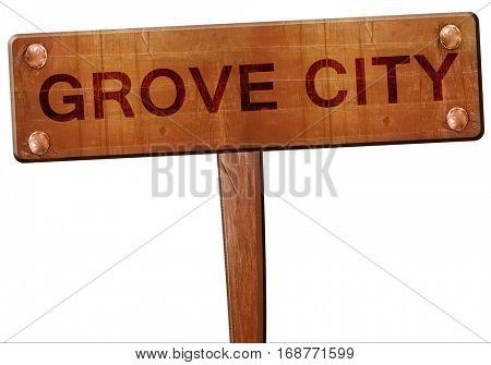 grove city road sign, 3D rendering