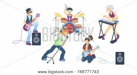 Isolated rock band on white background. Drums and guitar, vocal and piano. Cool singers and musicians.