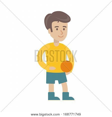 Isolated preschool boy on white background. Smiling cartoon character. Young handsome boy with ball.