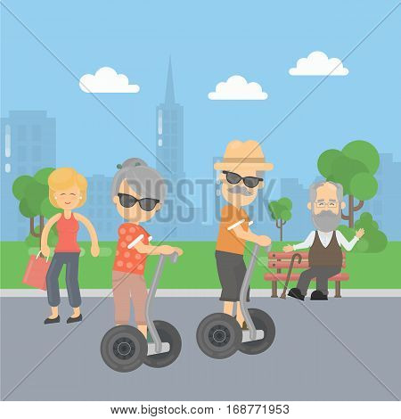 Old couple on segway in the park. Healthy lifestyle. Technologies for all ages.