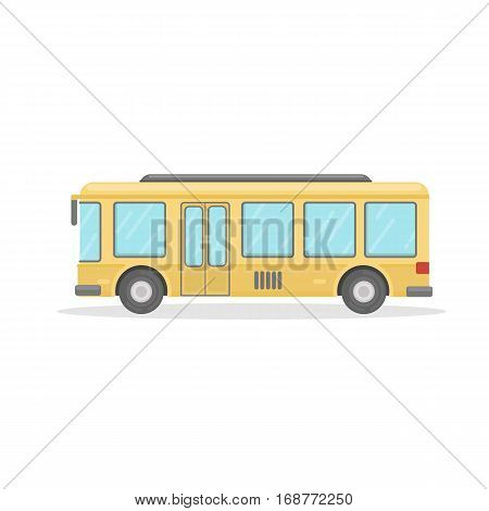 Isolated yellow bus on white background. Public transport or school bus.