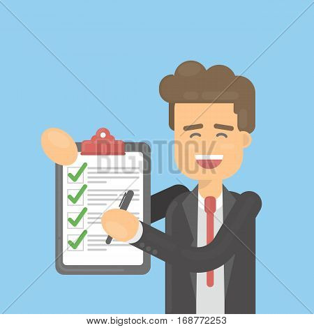 Businessman with check list on blue background. Happy smiling worker with clipboard and pen. Making things done. Productivity.