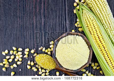 Flour And Grits Corn On Wooden Board